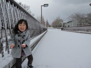 横断歩道橋も真っ白け♪